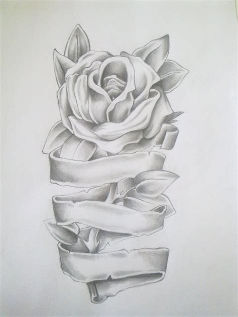 rose tattoos with ribbon drawing by anako kitsune on deviantart