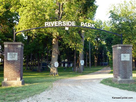 riverside park neosho falls riverside park entrance kansas cyclist photo