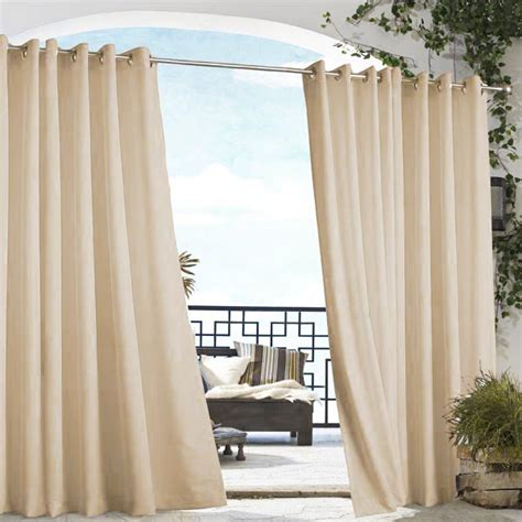 khaki gazebo solid grommet top indoor outdoor curtain panel