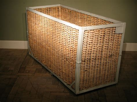 Large Antique Steel Frame Wicker Side Laundry Basket On Large Wicker Laundry