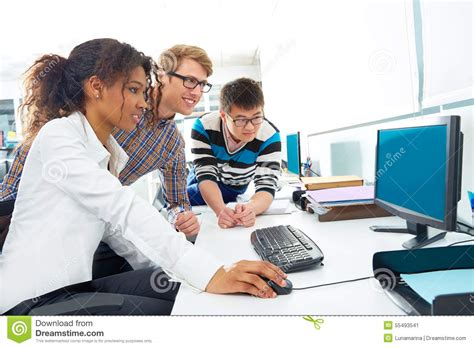desk multi photo business people young multi ethnic computer desk stock