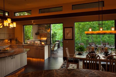 indoor kitchen indoor outdoor dining contemporary kitchen charlotte