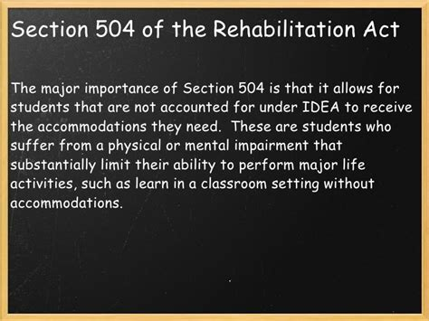 Rehab Act Section 504 by Chapter One Special Education In An Era Of Inclusion And