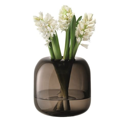 Lsa Vases by Lsa Molten Vase Cube In Smoke 17cm