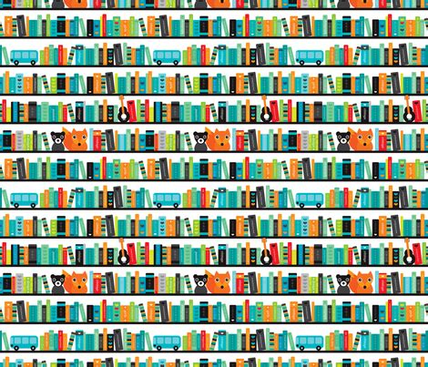 pattern of library boys abc fox book shelf pattern fabric littlesmilemakers