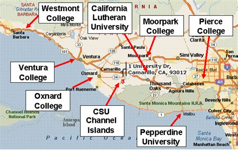 map of colleges in southern california map california universities colleges