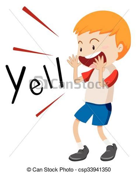 clipart yelling little boy yelling out illustration clipart vector