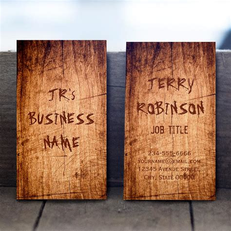 rustic card templates western rustic scratched wood grain cool stylish business card