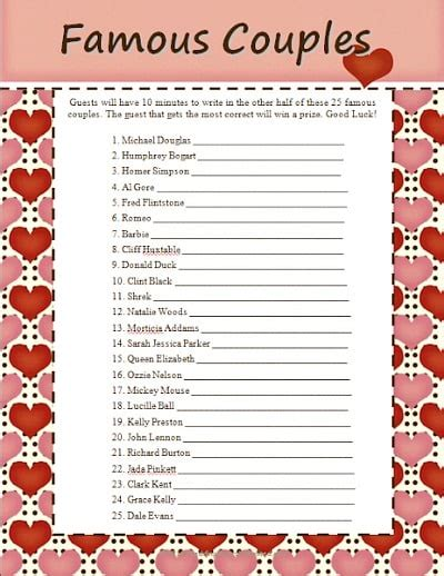 bridal shower tv couples 10 free printable bridal shower page 2