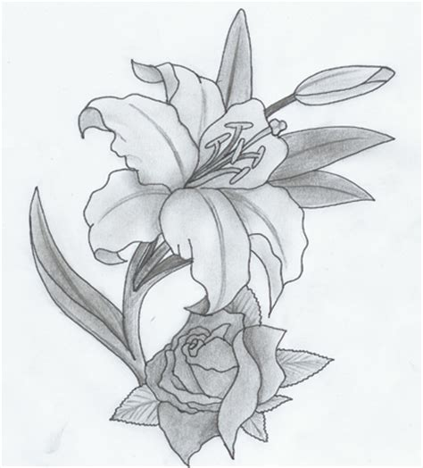 lily and rose tattoo designs and by purplepuma on deviantart