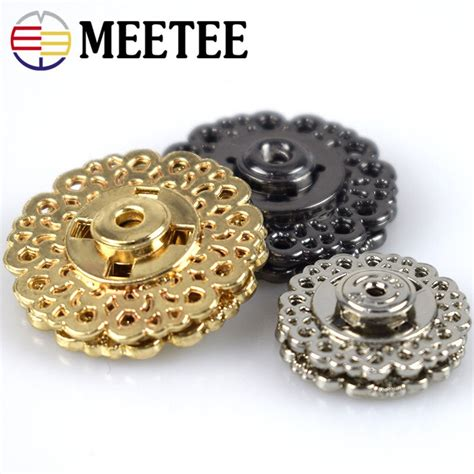 10pcs metal snap button 15mm 21mm 25mm clasp buttons hollow flower invisible coat buttons