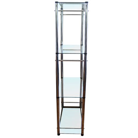 etagere glas vintage mid century glass chrome etag 232 re ebay