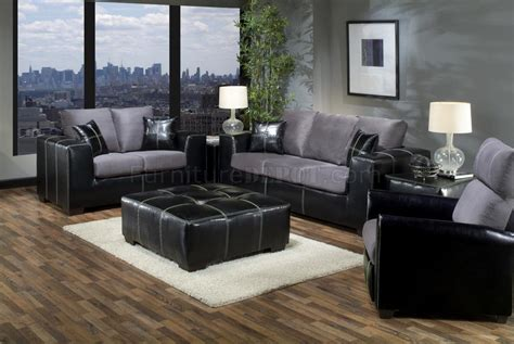 grey and black couch grey fabric black vinyl modern sofa and loveseat set w