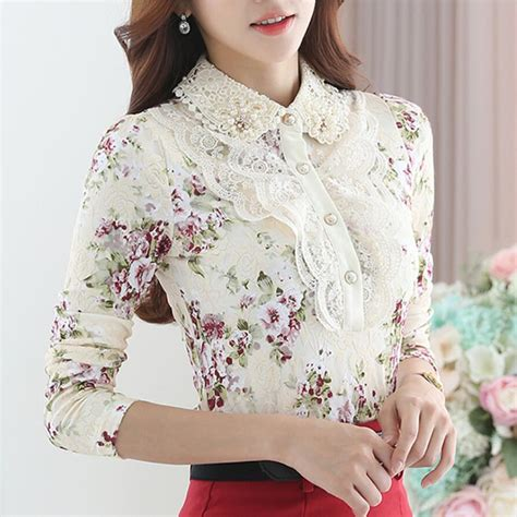Witer Blouse By floral lace blouse shirt sleeve blouse