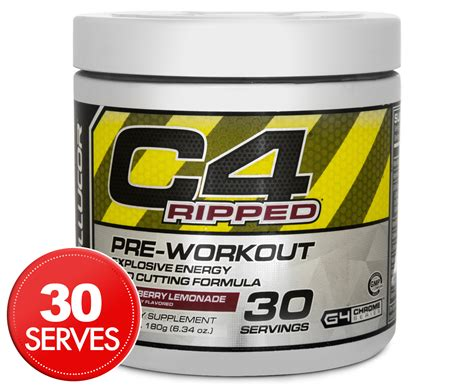 Pre Workout Cellucor C4 Ripped Preworkout Pre Wo 30 Serving cellucor c4 ripped pre workout raspberry lemonade 180g great daily deals at australia s