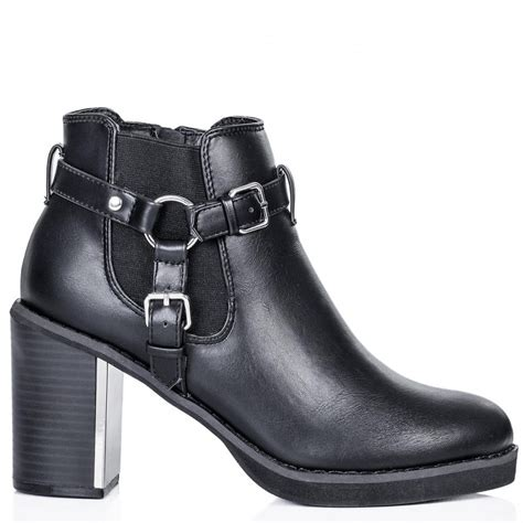 buy trek block heel chelsea ankle boots black leather