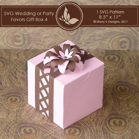 svg box pattern svg favors gift box 4 with flower border shery k designs