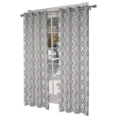 lowes curtains and drapes design decor 84 in stone polyester grommet light filtering