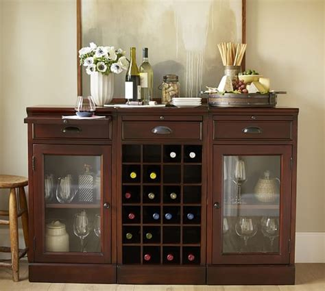 bar buffet modular bar buffet with 2 glass door bases 1 wine grid base pottery barn