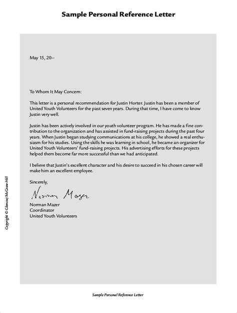 sample personal reference letter for employment mediafoxstudio com