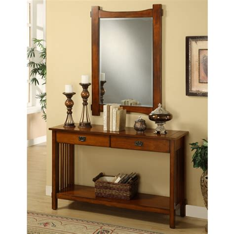 Hallway Table And Mirror Charter Oak Finish Hallway Console Table And Mirror Ebay