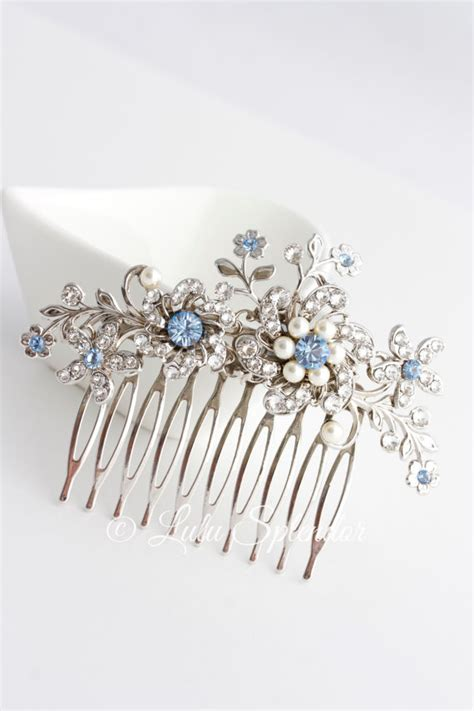 Wedding Hair Accessories Light by Wedding Hair Comb Light Sapphire Blue Bridal Hair
