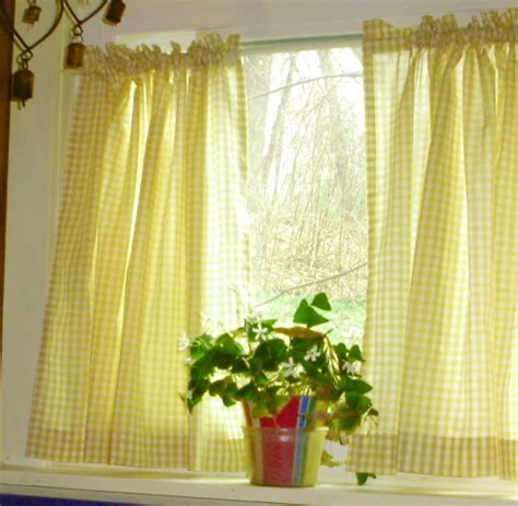 kitchen cafe curtains yellow gingham kitchen caf 233 curtain unlined or with white or blackout lining in many custom