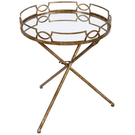amanda gold mirrored drinks tray table
