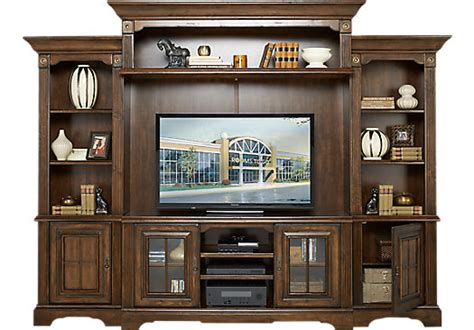Wall Units Living Room Furniture - 1 599 99 mountain bluff cherry 5 pc wall unit
