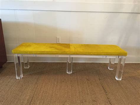 cowhide bench seat thick lucite bench with vibrant cowhide seat at 1stdibs