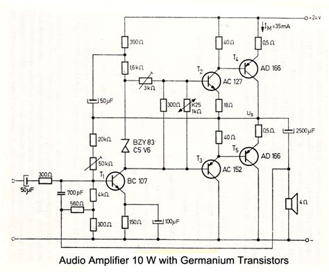 germanium transistor projects 10 w audio lifier with germanium transistors electronic schematics audio