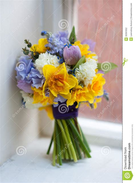 Wedding Bouquet Of Spring Flowers Stock Photo Image