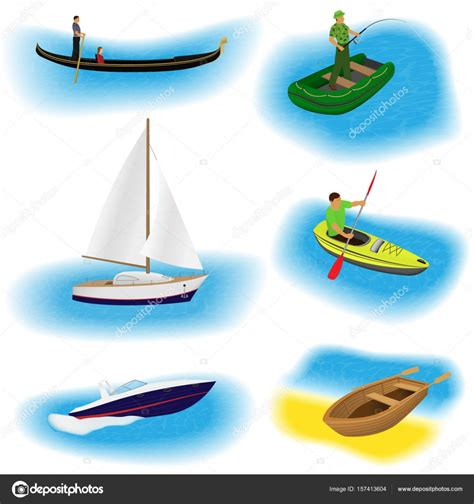 different kinds of boats set of six different kind boats isolated on a white