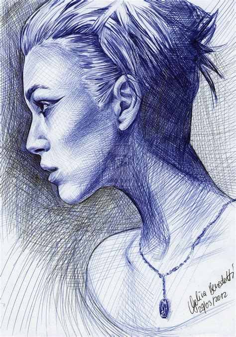 Sketches With Pen by Keira Knightley Ballpoint Pen By Angelinabenedetti On