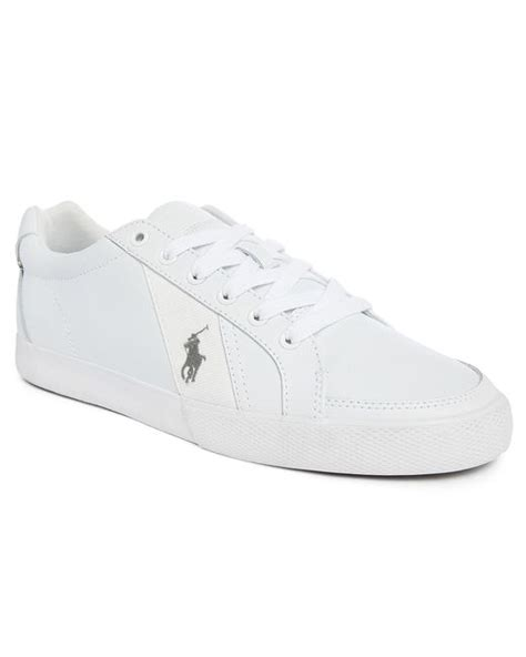 polo ralph hugh white leather sneakers in white for blue lyst