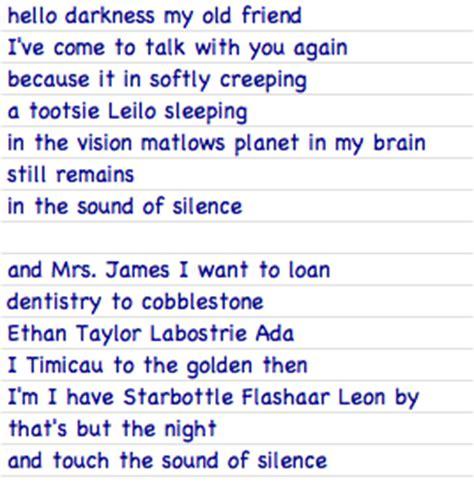 jim hello lyrics the sound of silence simon and garfunkel siri