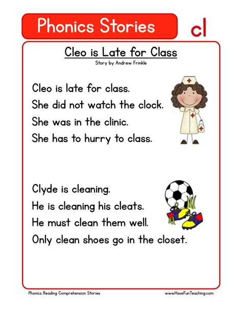 stories for kindergarten reading comprehension worksheet cleo is late for class