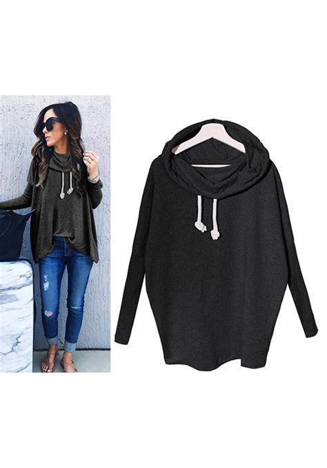 Hooded Drawstring Pullover black irregular drawstring hooded sleeve casual