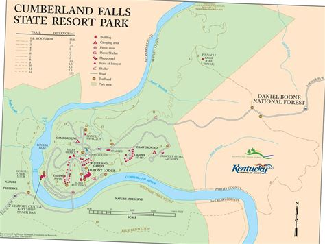 kentucky falls map cumberland falls state resort park maplets