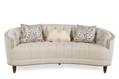 mathis brothers living room furniture button tufted demilune sofa in cream mathis brothers