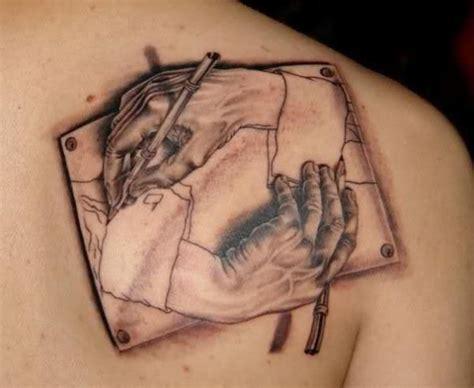 show tattoo designs mc escher tattoos create illusions 171