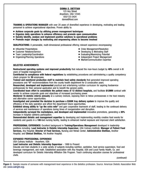 administrative dietitian resume exle resumes design
