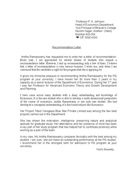 Reference Letter For Poor Student sle reference letter for student from professor