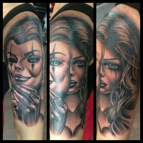 tattoo girl with mask girl and mask sleeve tattoos real photo pictures images