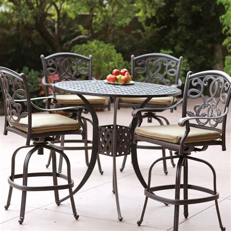 Outdoor Patio Furniture Bar Sets Darlee Santa 5 Cast Aluminum Patio Bar Set With Swivel Bar Stools Shopperschoice