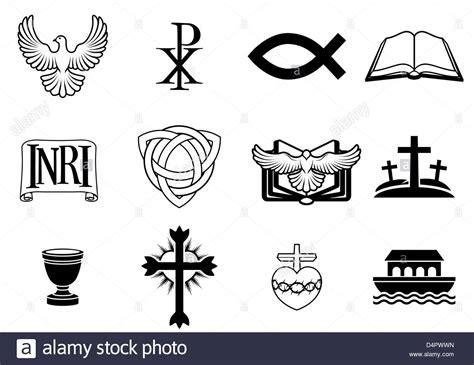 libro forgotten trinity the christian icons and symbols dove chi ro fish symbol bible inri stock photo royalty free
