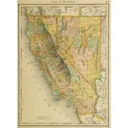 map california nevada map california and nevada 1887 original antique