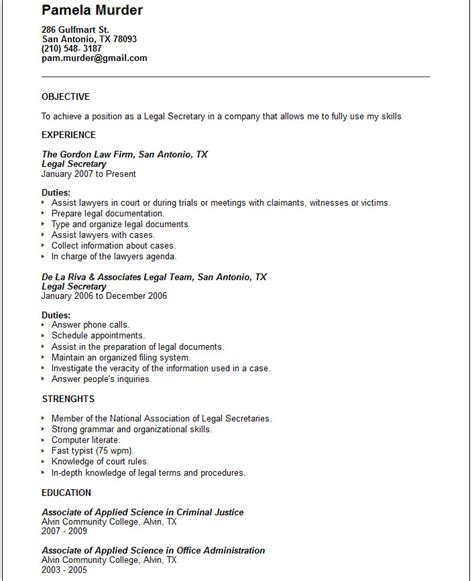 legal secretary resume exle free templates collection