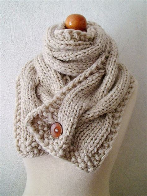 how to knit buttons chunky scarf handknit big cowl thick cabled soft in
