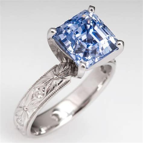 5 55 carat asscher cut light blue sapphire engagement ring